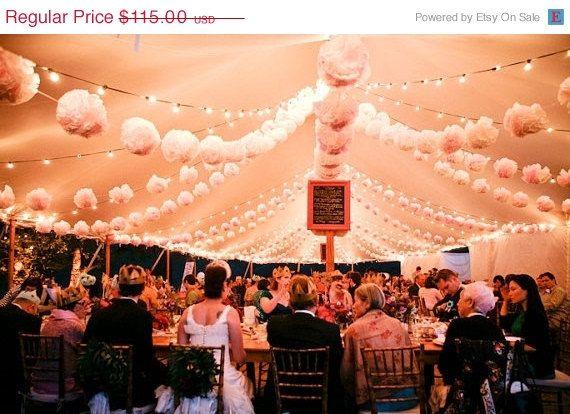 40 Tissue paper POMPOMS  wedding decorations  custom by pomtree, $92.00