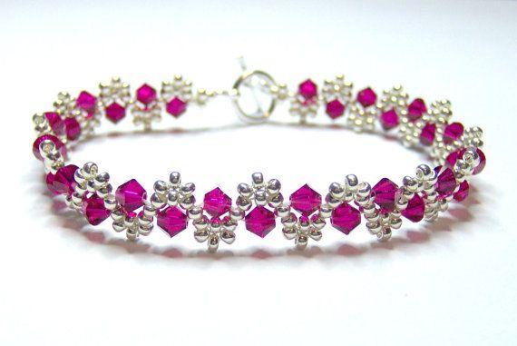 Ruby and silver crystal swarovski bracelet, ruby bracelet, seed beads, crystal…