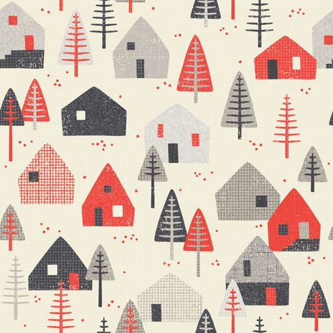 alpine chalet // by petite_circus fabric by petite_circus on Spoonflower - custom fabric