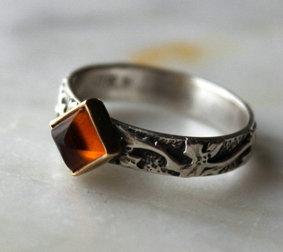 Handcrafted sterling silver 14k  OOAK ring with square citrine.  hand engraved- size 6 3/4