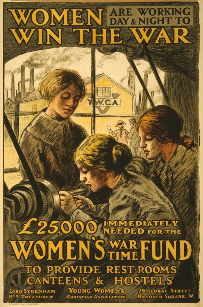 O To Ww Bing Com25 30: World War 1 Poster, Women Are Working Day & Night To Win