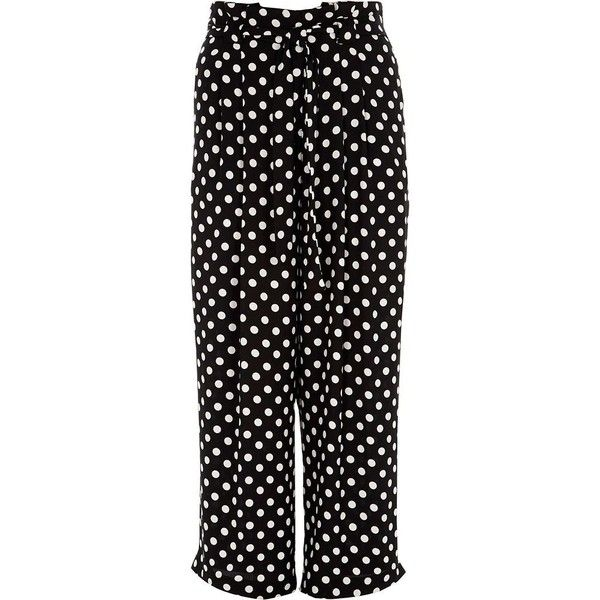 76c69d418e9a River Island Plus black polka dot belted wide leg pants ($96) ❤ liked on  Polyvore featuring pants, black, wide leg trousers, women, plus size  trousers, ...
