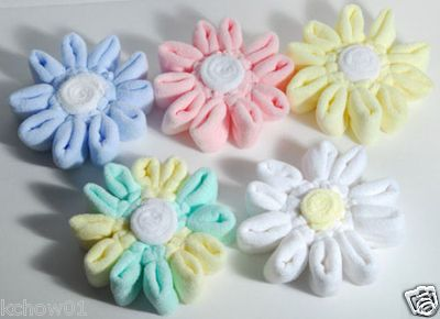 Washcloth Towel Flowers Baby Shower Favor Gift | How cute would these be on popsicle sticks