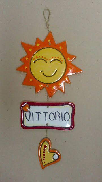 ceramica come mestiere: Sole in ceramica corda secca.