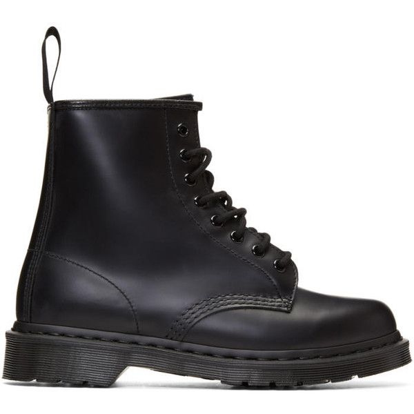 Dr. Martens Black 1460 Mono Boots ($145) ❤ liked on Polyvore featuring men's fashion, men's shoes, men's boots, black, mens round toe shoes, mens black lace up boots, mens black boots, mens black shoes and mens black lace up shoes