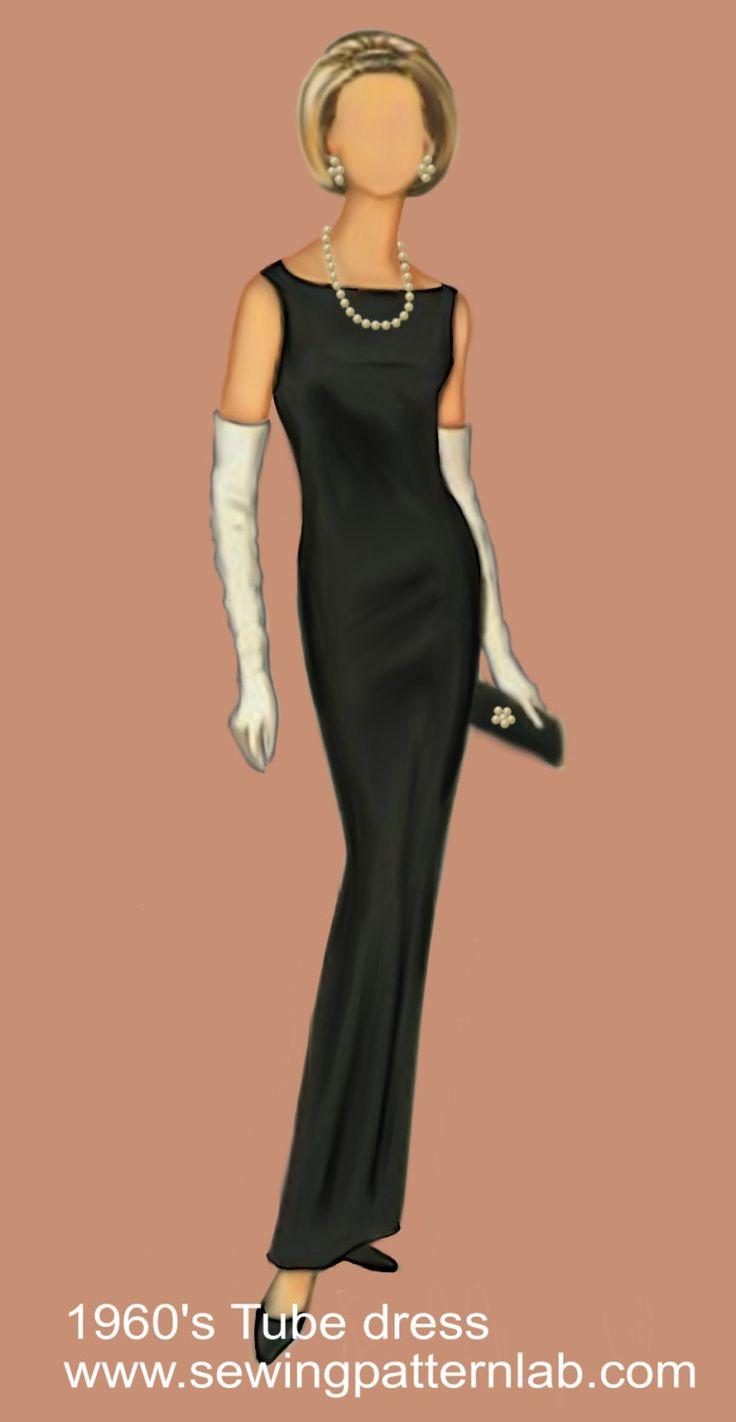 Tubino nero, cartamodello per abito classico in taglia 44 (medium) file PDF in formato A4