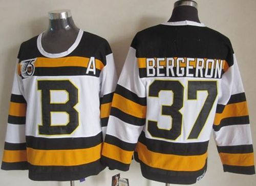 "$34.88 at ""MaryJersey""(maryjerseyelway@gmail.com) Bruins 37 Patrice Bergeron White CCM Throwback 75TH Stitched NHL Jersey"