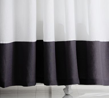 pottery barn linen banded shower curtain black white ebay. Black Bedroom Furniture Sets. Home Design Ideas