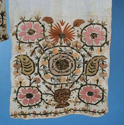 Antique 19th Century Ottoman Turkish Embroidered Long Sash