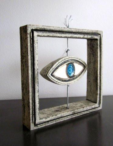 Ceramic decorative frame with evil eye sculpture blue and gray art 18x18cm Handmade unique 3d decorative frame with small evil eye sculpture decor,  art three-