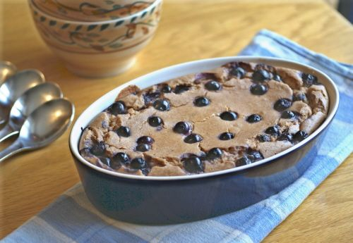Baked Blueberry Oatmeal Breakfast Pudding: Mix it, bake it, eat it! Great cold, too. #vegan, #glutenfree, refined #sugarfree breakfast.