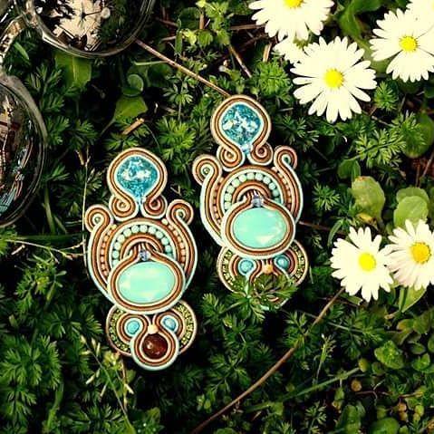 #soutachejewelry #handmade #handmadejewelry #selenkhloejewelry #azzurro #verde #hashtag #instalike #instacool #earrings #accessory #springcollection