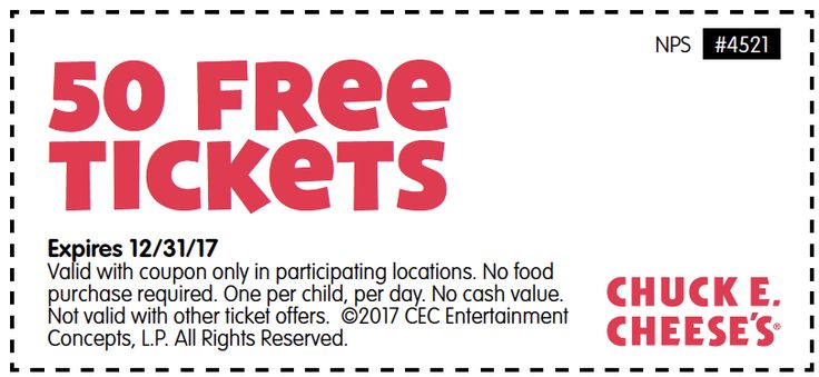 Chuck E. Cheese's Printable Coupon