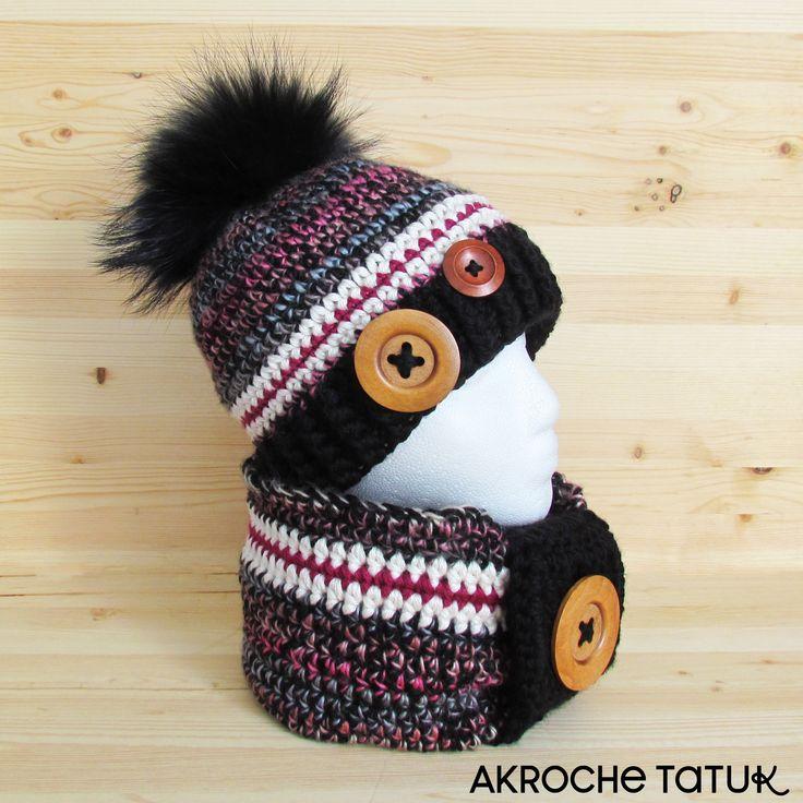 Hat and cowl crochet pattern  Tuque et cache-cou patron au crochet
