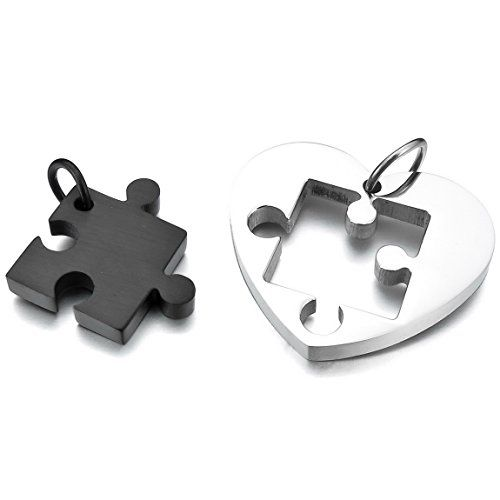 "INBLUE Stainless Steel His & Her Jigsaw Puzzle Heart Pendant Necklace with 20 and 23-Inch Chain, Silver & Black. Size: 1.00 x 1.10 inch. Size: 25.4 x 28.0 mm. Metal: Stainless-steel. Please check out 1000s Jewelries we offer. Including a velvet bag printed with Brand Name ""INBLUE""."