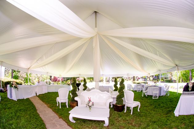 Classy, outdoor, tent decorations on the Fountain Garden - Crescent Hotel Receptions | Eureka Springs Weddings