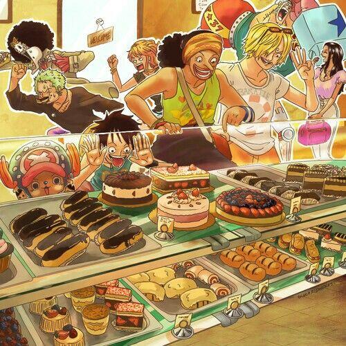 Straw Hat Crew, Mugiwara, Luffy, Sanji, Zoro, Chopper, Usopp, Brook, Franky, Nami, Robin, bakery store, shop, sweets, funny; One Piece