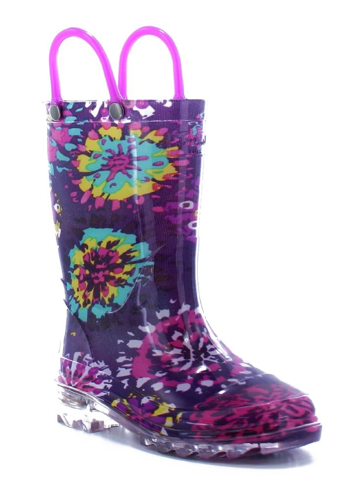 With these girls' Abstract Blooms <strong>rain boots from Western Chief</strong>, making a splash is seriously fun! Every step in this rainy day necessity sets the clear, light-up sole ablaze. Pulling on these colorful floral wellies is easy thanks to a strong handle on each side of the boot. The rubber design is fully waterproof, keeping her feet comfortably dry.