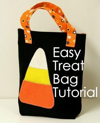 Cute!Treat Bags, Bags Tutorials, Halloween Costumes, Diy Tutorial, Bags Pattern, Totes Bags, Easy Treats Tots, Halloween Ideas, Halloween Treats Bags
