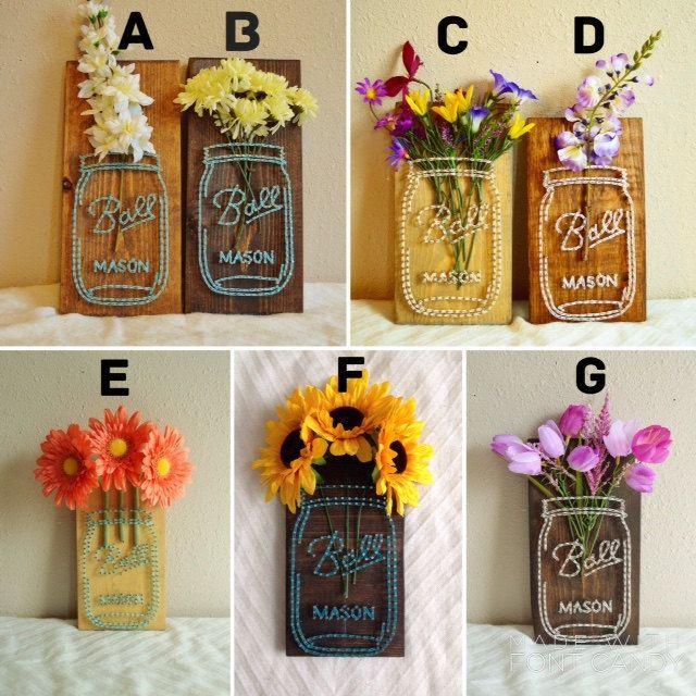 Mason Jar Flower String Art Made To Order String Art Patterns