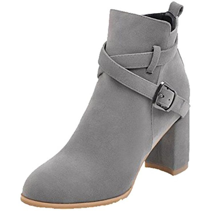 Women's Trendy Frosted Buckle Round Toe Mid Chunky Heel Zipper Ankle Boots