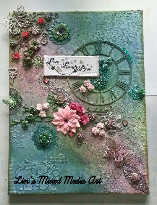 Lin's Mixed Media Art Live Laugh Love (sold)