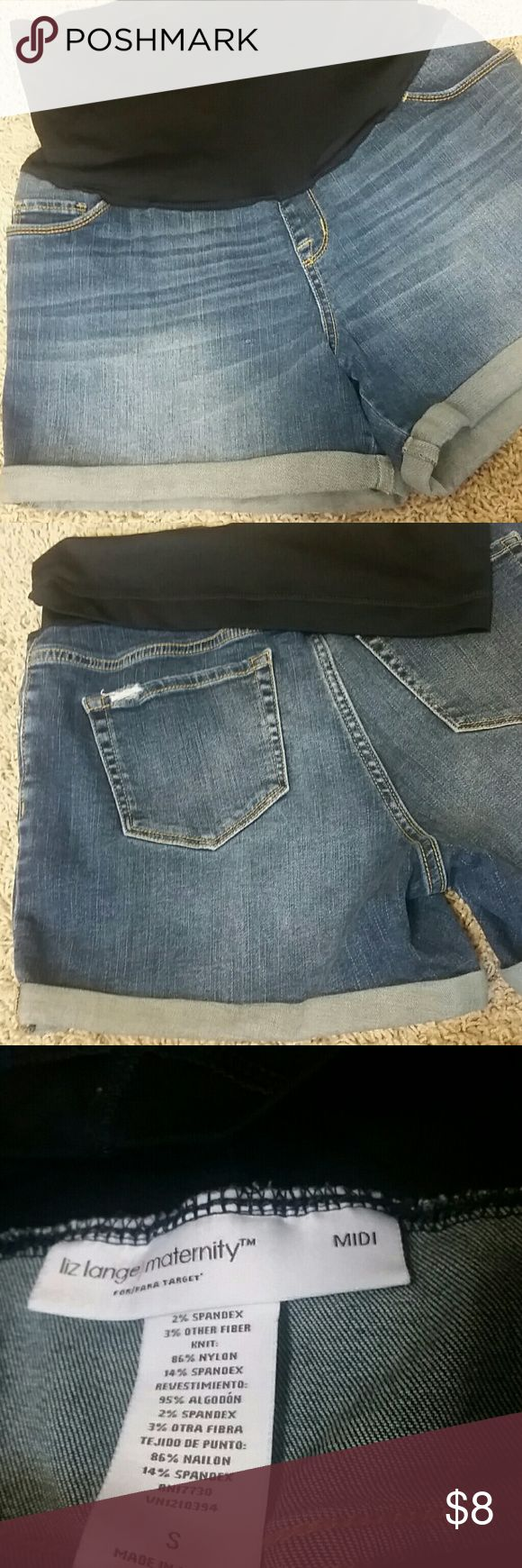 Liz Lange Maternity MIDI Jeans Shorts Sz S Womens Liz Lange Maternity MIDI Jeans Shorts. Sz Small  Cuffed, medium wash shorts with belly fabric. Distressed in good condition. Liz Lange Shorts Jean Shorts