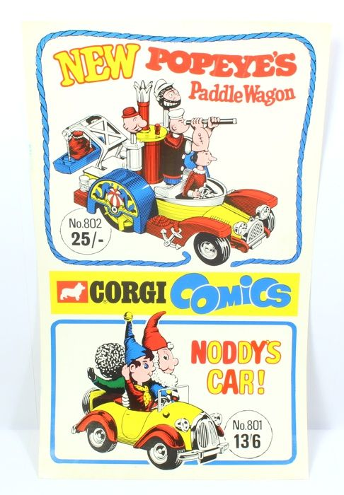 Original, promotional Corgi 'Window Poster for Corgi 801 Noddy's Car and 802 Popeye's Paddle Wagon