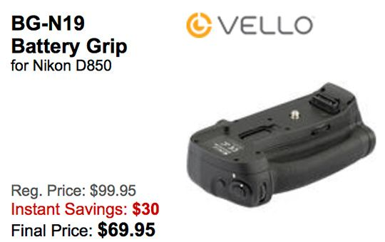 The Vello BG-N19 battery grip for Nikon D850 is now $30 off