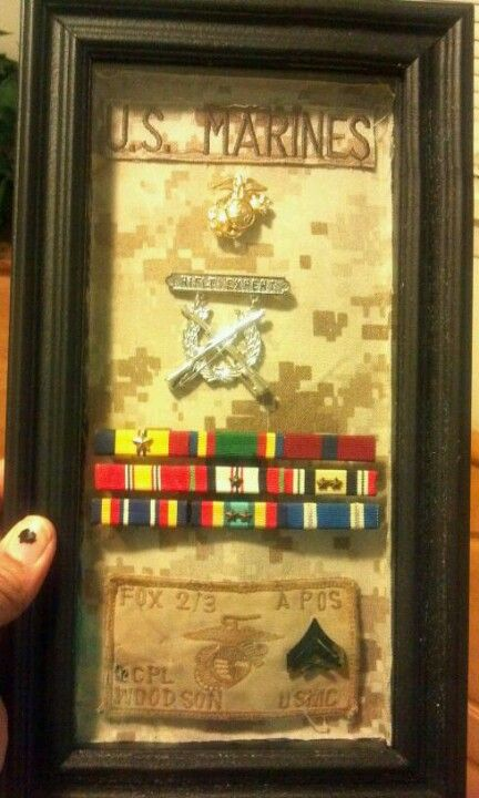 #USMC #military #veterans shadow box..military memories, for one day when we get out :) - www.HireAVeteran.com