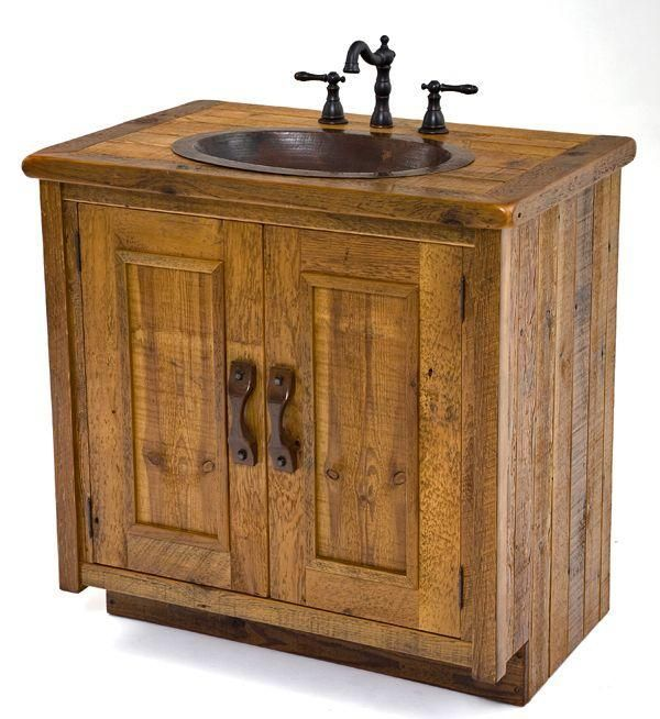 Bathroom Furniture, Rustic Vanities, Barnwood Vanity, Hammered Copper Sink, Stone Pedestal Sinks