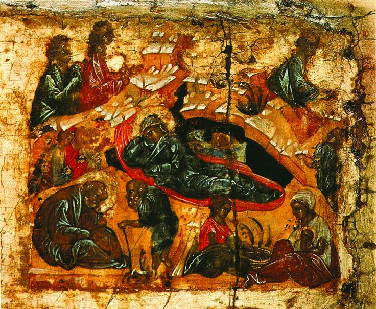 Фрагмент. Рождество Христово.  Конец  XIV в.  Праздники..
