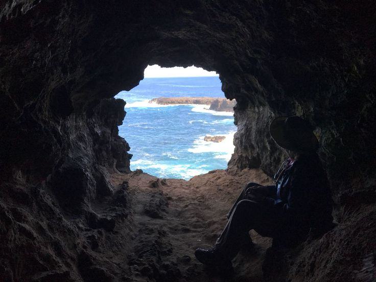 """Our lovely passenger Martha Penberthy on her """"Cave trip"""", exciting lava tubes in the remote central and west area of Easter Island! Ana Kakenga, also known as the """"two window cave"""" and you can also see the biggest """"Hare Paeŋa"""" located in Te Peu.  Come and discover the Island with us! Send us an e-mail to info@easterisland.travel and we'll be more than happy to help you out with your trip!"""