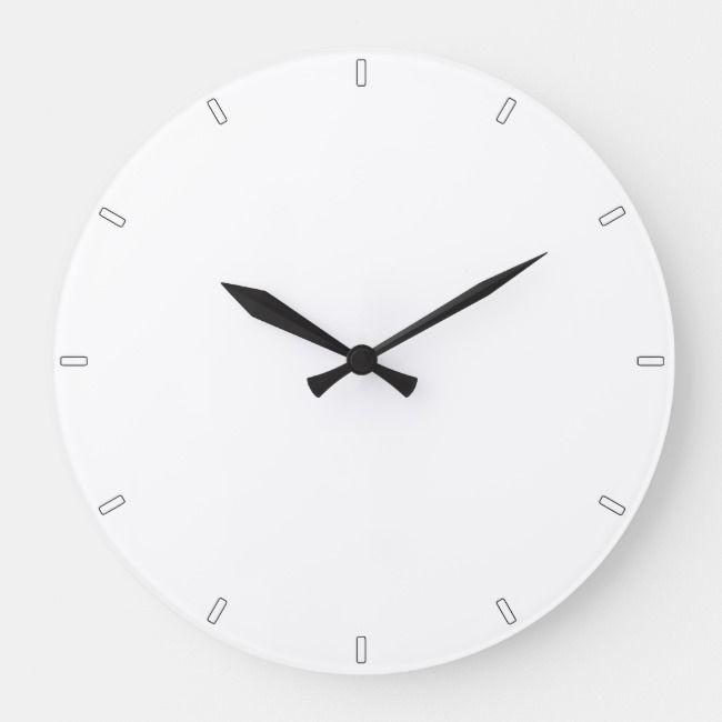 Plain White Simple Minimalist All White Wall Clock Zazzle Com White Wall Clocks Wall Clock Simple Wall Clock