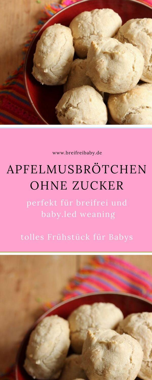 BLW Frühstück für Babys: Apfelmusbrötchen ohne Zucker - ein tolles breifrei Rezept, das schnell geht und nur 5 Zutaten braucht.  #zuckerfrei #frühstück