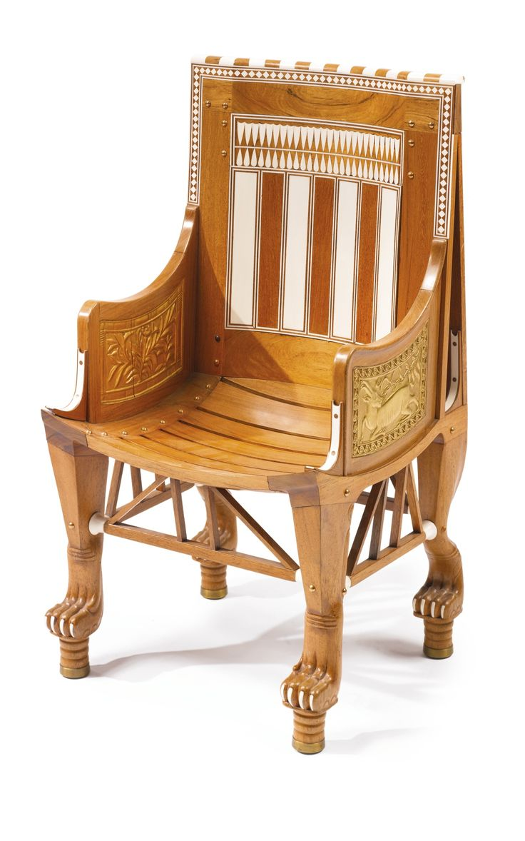 Ancient egyptian furniture - An Egyptomania Ivory And Parcel Gilt Mounted Wooden Child S Armchair Cairo Circa 1925 Height