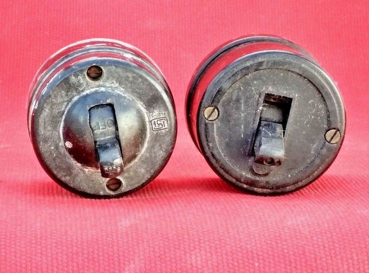 Pair of Vintage Old Collectible Bakelite Ceramic Round Switches India
