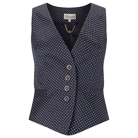 Buy Somerset by Alice Temperley Pin Dot Button Waistcoat, Navy Online at johnlewis.com