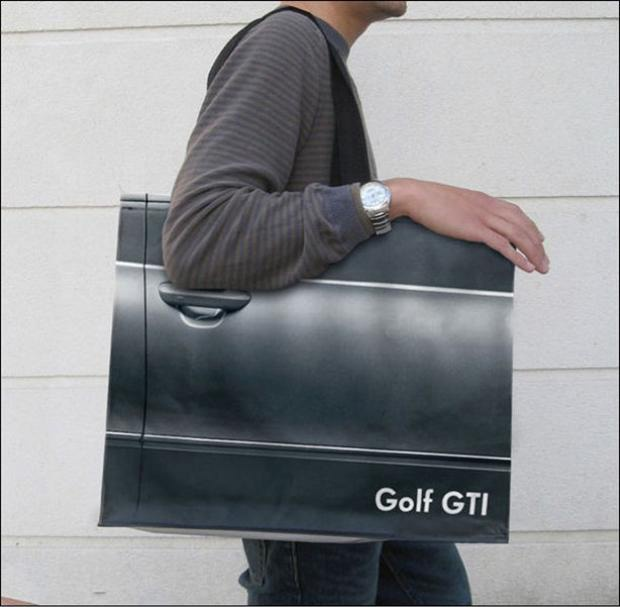 Very creative Golf GTI ad on a shopping bag