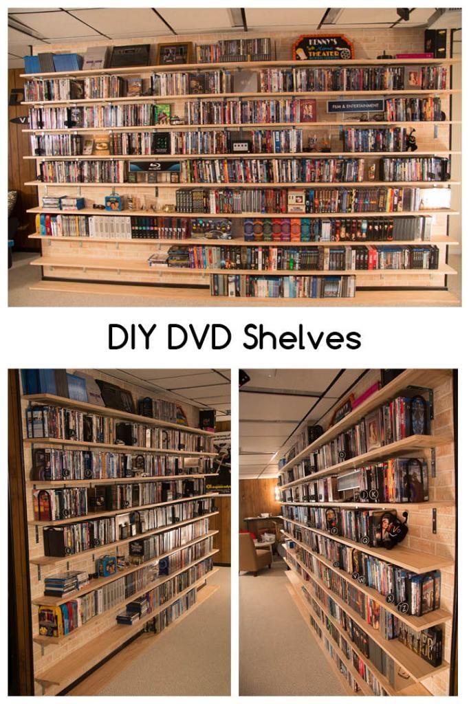 DIY DVD Shelves (great for large collections).  Inexpensive materials that can all be purchased at Home Depot! | SuperNoVAWife