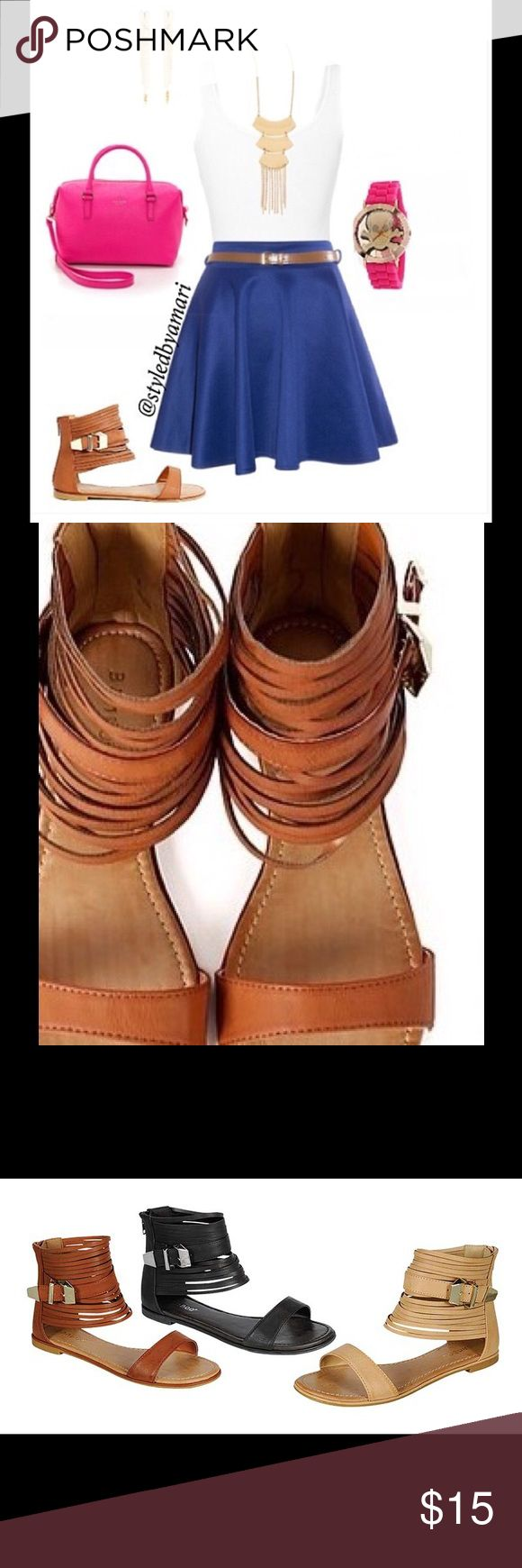 💥💥Camel Sandals 💥💥 Beautiful glamorous sandals, detailed with leather like  cut out around the ankle you can dress them up are down they are the perfect sandals. Shoes Sandals