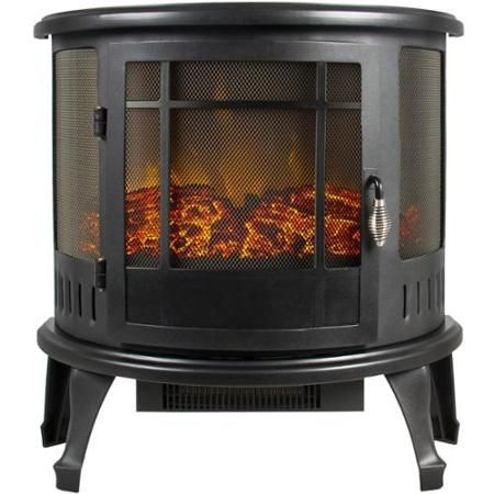 Portable Electric Fireplace Stove 1500W Space Heater Realistic Flame Perfect Design for Corners