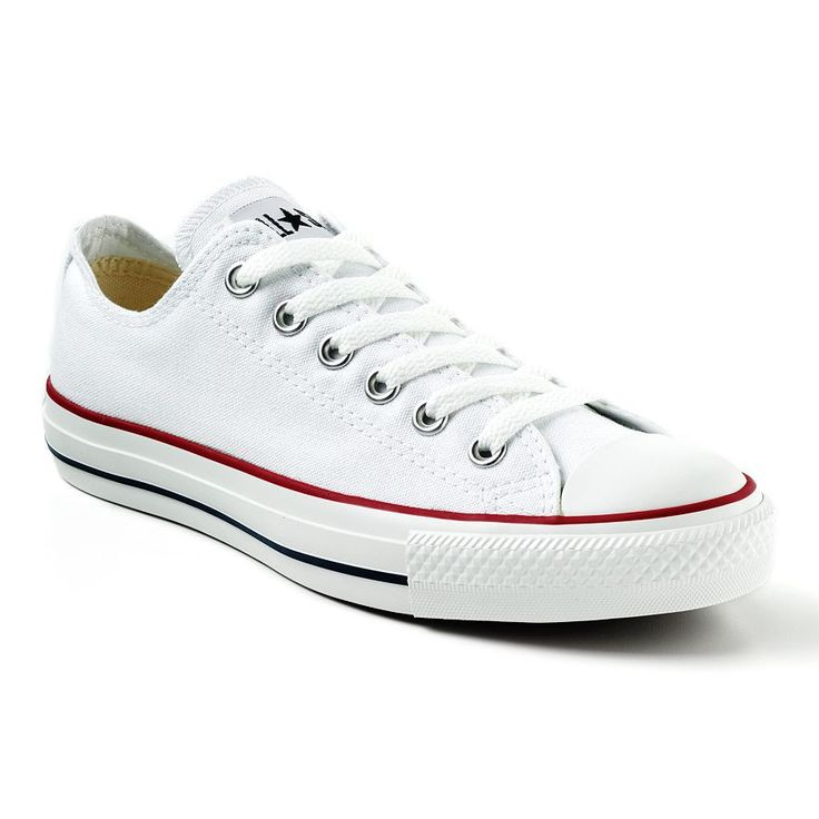 Converse All Star Chuck Taylor White Lace-up Low Tops with Red & Blue Stripe Accents - A must have for any wardrobe! Really comfortable for all day standing and walking!!