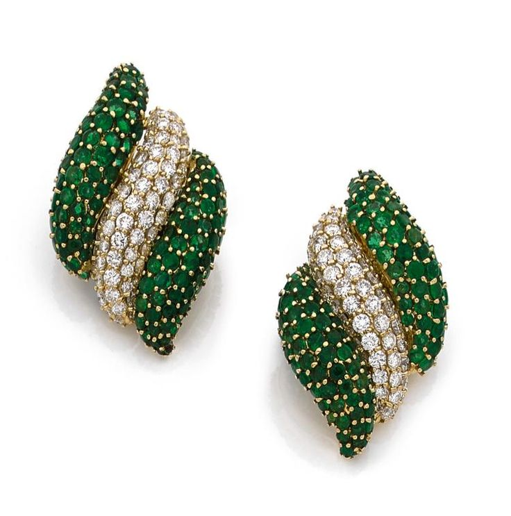 A pair of diamond, emerald and 18K gold Sabbadini earrings - by Hôtel des Ventes de Monte-Carlo