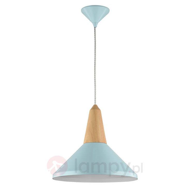 Niebieska lampa wisząca Trottola z drewnem bukowym 6727158