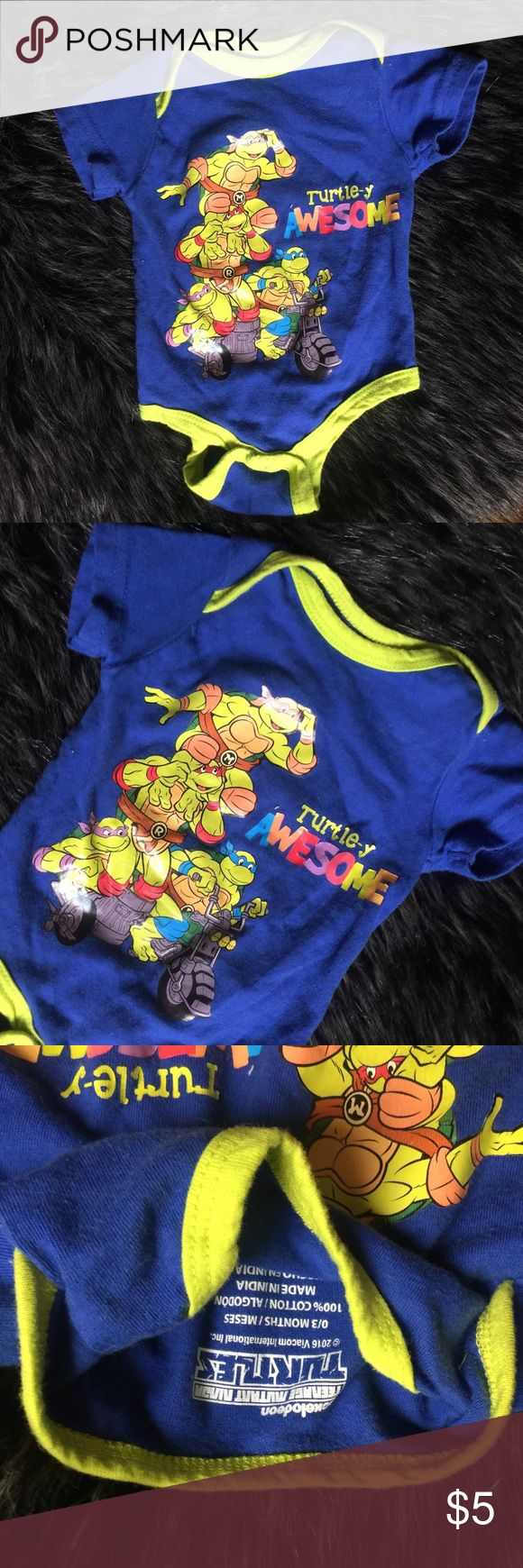 Ninja Turtles Onesie 0 to 3 month percent cotton baby onesie. Ninja turtles officially licensed through nickelodeon. Worn once washed once. Super soft and cute. No trades. Ships within 24 hours. One Pieces Bodysuits