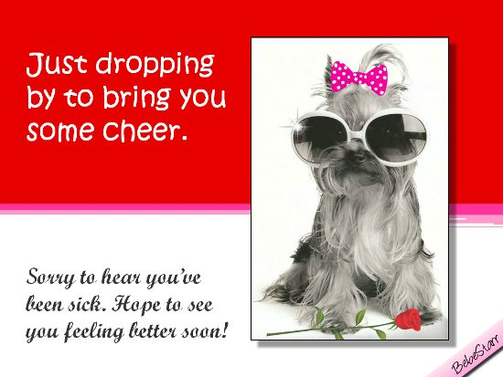Cheer up the sick with this get well ecard. See all my ecards at www.123greetings.com/profile/bebestarr/ They are free to send and fun to receive!