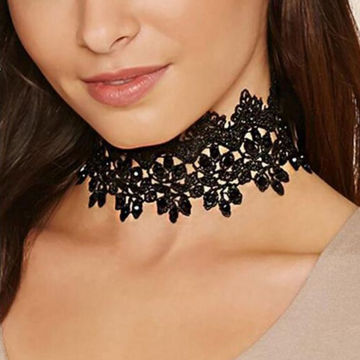 2017 New Boho Black Lace Choker Necklace for Women Wide Flower Chocker Gothic collar Bijoux Femme Collier Collares Mujer