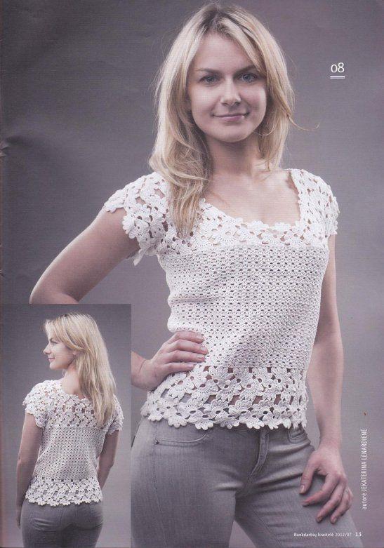 Crochetpedia: ganchillo camiseta Blusa                                                                                                                                                     Más