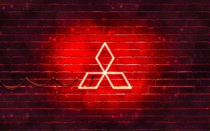 Mitsubishi red logo, 4k, red brickwall, Mitsubishi logo